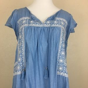 Old Navy Chambray Embroidered Dress
